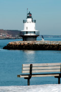 Ledge Photo Posters - Spring Point Ledge Lighthouse Poster by Greg Fortier