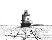 Ledge Drawings Prints - Spring Point Ledge Lighthouse Print by Tim Murray