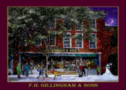 Vermont Country Store Prints - Spring Snow at Gillinghams in Woodstock Print by Nancy Griswold