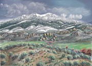 Mountain Valley Drawings - Spring Snow on the Peak by Dawn Senior-Trask