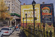Eureka Springs Painting Prints - Spring Street at Basin Park Print by Sam Sidders
