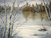 Snowy Trees Paintings - Spring Thaw by Daydre Hamilton