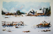 Farm Fields Painting Originals - Spring Thaw by Wilfred McOstrich