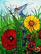 Flying Things Posters - Spring Things Poster by Carrie Jackson