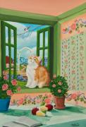 Kitchen Window Paintings - Spring Through My Window by Charlotte Blanchard