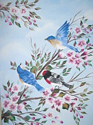 Birds With Flowers Posters - Spring Time Chirpiness Poster by Monica Bhattacharya