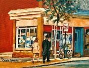 Store Fronts Painting Metal Prints - Spring Time In Montreal City Scene Metal Print by Carole Spandau