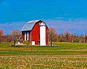 Barns Mixed Media Acrylic Prints - Spring Time On The Farm Acrylic Print by Robert Pearson