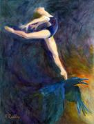 Raven Dance Dancer Sky Ballet Spirit Guide Heaven Light Figurative Bird Crow Ballerina Oil Pointe Shoes Ballet Slippers Mythology Sunrise Arabesque Transformation Animal Wildlife Leotard Prints - Spring to Heaven Print by Ann Radley