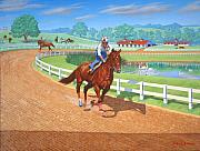 Horse Training Art Prints - Spring Training Print by Howard Dubois