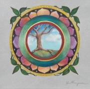 Mandala Drawings - Spring Tree Mandala by Jo Thompson