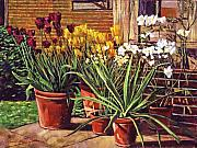 Flowerpots Prints - Spring Tulips and White Azaleas Print by David Lloyd Glover