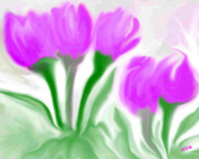 Flower Posters Digital Art - Spring Tulips by Elva Kimble