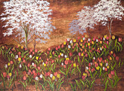 Vic Mastis Paintings - Spring under the Dogwoods by Vic  Mastis