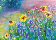 Fields Of Flowers Paintings - Spring Will Come Again by Joan Bohls