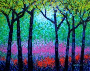Impressionism Acrylic Prints Paintings - Spring Woodland by John  Nolan