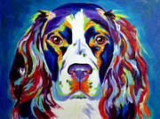Colorful Animal Art Prints - Springer Spaniel - Cassie Print by Alicia VanNoy Call