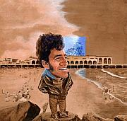 Guitarists Paintings - Springsteen on the Beach by Ken Meyer jr