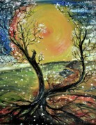 Tree Roots Painting Posters - Springtime 2 Poster by Evelina Popilian