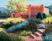 Garden Scene Pastels Metal Prints - Springtime Adobe Metal Print by Candy Mayer