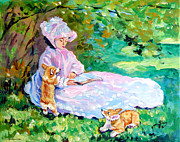 Corgi Dog Portrait Posters - Springtime after Monet Poster by Lyn Cook