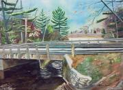 Lake Michigan Painting Originals - Springtime at Bass Lake Bridge by LeAnne Sowa