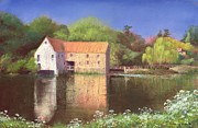 Water Reflections Paintings - Springtime at the Mill by Anthony Rule