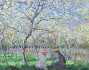 Trees Blossom Paintings - Springtime by Claude Monet