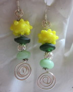 Abstract Jewelry - Springtime Daffodil Earrings by Janet  Telander
