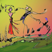 Ballet Dancers Digital Art Prints - Springtime Dance Nine Print by Anthe Capitan-Valais