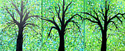 Fantasy Tree Art Art - Springtime Green In The Forest 2 by Suzeee Creates