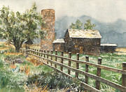 Old Barn Paintings - Springtime in the Rockies by Anne Gifford