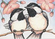 Chickadee Drawings Prints - Springtime Sweethearts Print by Amy S Turner