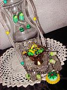 Food And Beverage Jewelry Originals - Springtime Tea Party Jewelry Set by Jamie Pool
