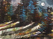 Full Moon Drawings Prints - Spruces Print by John  Williams