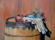 Barrel Paintings - Spurs and Gloves by Cara Zietz