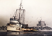 Fishing Art Cards Framed Prints - Squalicum Harbor Framed Print by James Williamson