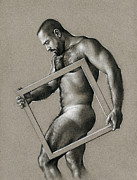 Male Nudes Drawings Prints - Square Print by Chris  Lopez