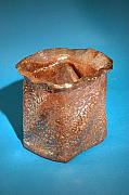 Lace Ceramics - Square copper vase by Michelle Wildgruber