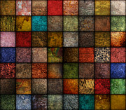 Textured Paint Digital Art Originals - Square Earth Tone Texture Background by Angela Waye
