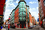 Old Street Metal Prints - Square in old Boston Metal Print by Elena Elisseeva