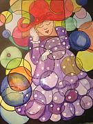 Bubbly Painting Framed Prints - Square Lady in a Round world Framed Print by AnnE Dentler