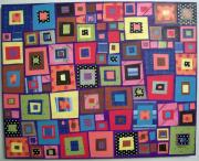Folk Art Mixed Media - Squares in Squares by Karla Gerard
