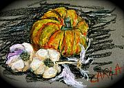Garlic Pastels Framed Prints - Squash and Garlic Framed Print by Carla Stein
