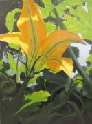 Vegetables Paintings - Squash Blossom by Karen Ilari