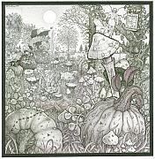 Mushrooms Drawings Posters - Squashington Square Poster by Bill Perkins
