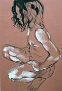 Male Nudes Drawings Prints - Squating male nude Print by Joanne Claxton