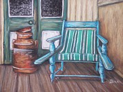 Chair Pastels Metal Prints - Squatters Chair and Cream Can Metal Print by Dianne  Ilka