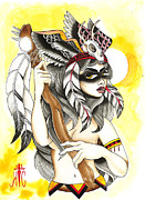 Native American Woman Prints - Squaw Print by Kate Collins