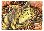 Scared Mixed Media Prints - Squelch Print by Richard Stratford